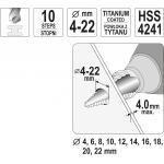 Pakopinis grąžtas 4-22mm YATO