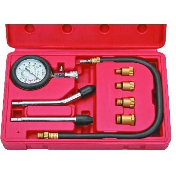 Benzininis kompresijos matuoklis su antgaliais, 8 vnt.