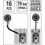 Dyzelinis kompresijos matuoklis su adapteriais 16vnt YATO